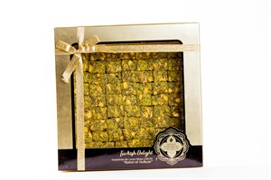 (STANDART PACK) TURKISH DELIGHT WITH PISTACHIO COVERED POWDERED PISTACHIO  600 GR