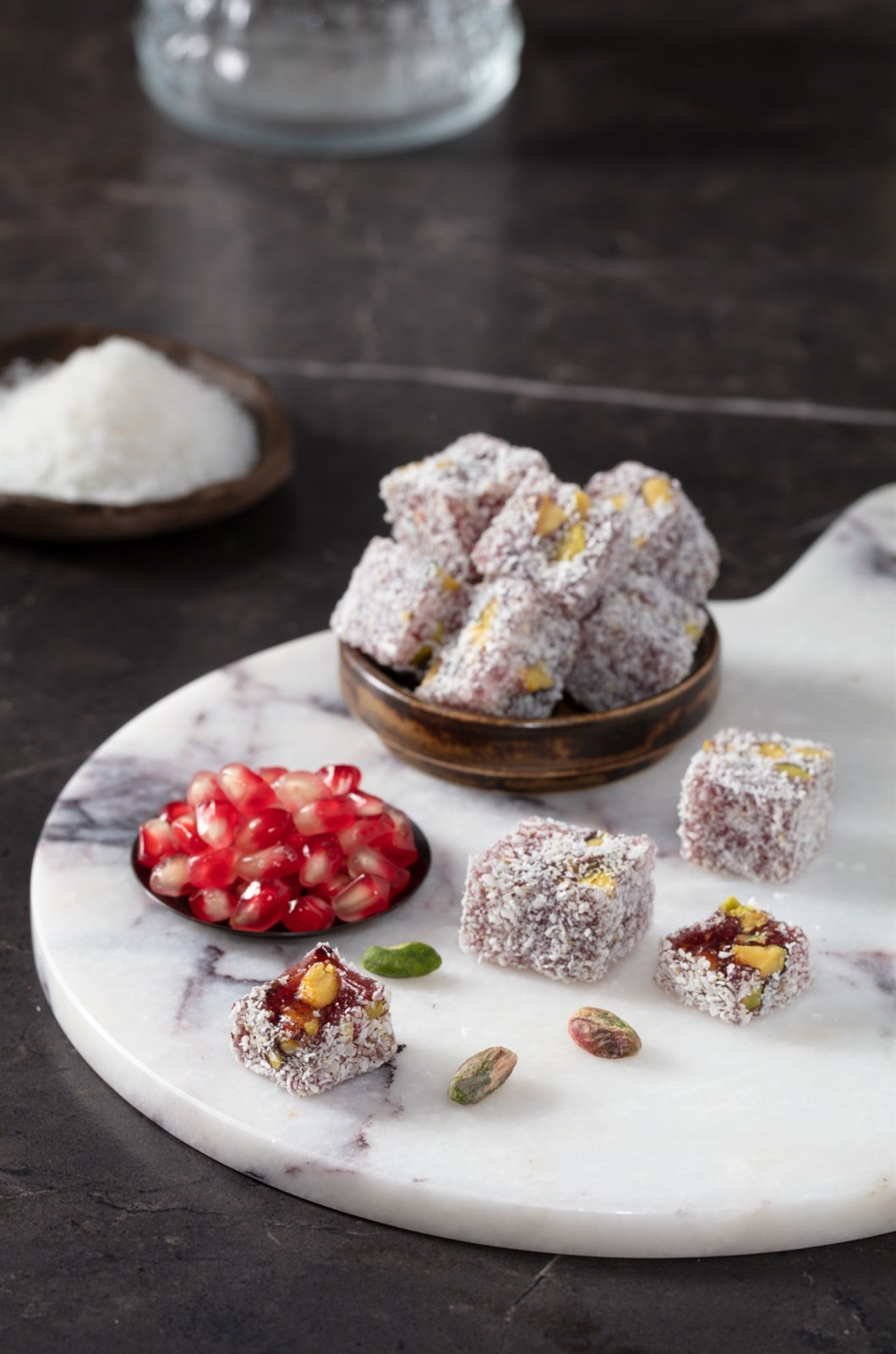 TURKISH DELIGHT WITH PISTACHIO AND POMEGRANATE COVERED COCONUTS KG