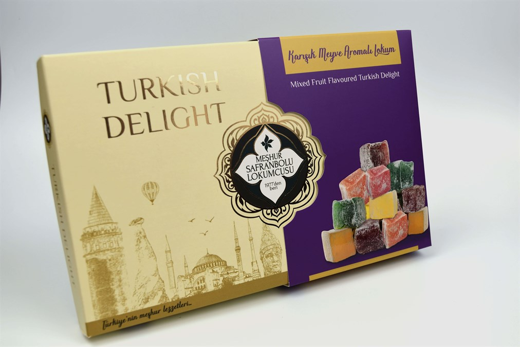 MIXED FRUIT FLAVOURED SMALL CUT TURKISH DELIGHT 400 GR